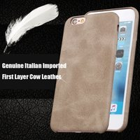 Wholesale Import Iphone Cases - Best Italian Imported Suede Phone Case Cow Leather Back Cover Genuine Leather PC Hard Shell Cell Phone Cases for Iphone5 Iphone6 6plus