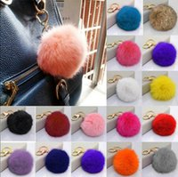 Wholesale Cute Cell Phone Plush - Soft Cute Rabbit Fur Ball PomPom Cell Phone Car Pendant Handbag Key Chain Ring Plush Keychain OOA2722
