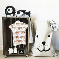 Wholesale Large Bears Wholesale - INS Large Drawstring Storage Bag Baby Toys Pouch Box Canvas Bear Batman Hanging Laundry Buggy Bags Pouch Clothing Baskets Xmas Sack Stocking