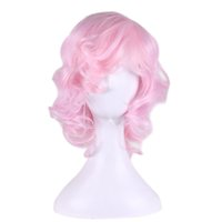 Wholesale Pink Cosplay Wigs Short - WoodFestival short curly pink wig cosplay anime costume wig heat resistant synthetic wigs lolita cheap wigs for women oblique bangs