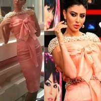 Wholesale Water Pearls Decoration - Haifa Wehbe Knee-Length Celebrity Dresses 2016 Sheath Evening Dresses with Full Pearl Decoration Neck and Belt Dubai Party Gowns