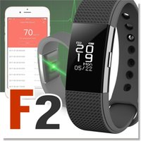 Wholesale Wholesale Wrist Blood Pressure Monitor - F2 Heart Rate Monitor Smart Wristband bracelet Waterproof blood pressure Tracker Smart Band for Android iOS For Fitbit Charge 2 Style