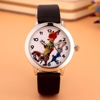 Wholesale Rabbit Watch Leather - Cartoon Beautiful girl Zootopia Fox rabbit style Color number dial children students girl's leather quartz watch