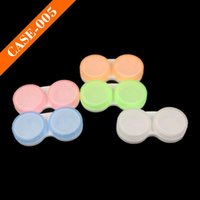 Wholesale Eyeglasses Cases Free Shipping - Cheap Contact Lenses Case Double Case Contact Lenses Accessories Lens Container light travel kit free shipping