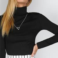 Wholesale Slim Fit Work Shirts Black - 2017081440 Black Turtleneck Ribbed Slim Fit T-shirt Fall High Neck Work Wear Elegant Shirt Ladies Long Sleeve Plain Top