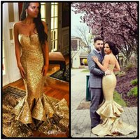 Wholesale Maternity Bottoms - Vestidos de Noiva Gold Sequined Mermaid Evening Dresses Sweetheart Spaghetti Strap Ruffles Tiered Bottom Long Prom Gowns