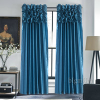 Wholesale Valance Windows - Luxury Valance & Curtains for Window Customized Ready Made Window Treatment  Drapes For Living Room Bedroom Solid Color Panel
