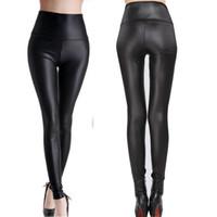 Wholesale Sexy Womens Black Leggings - Wholesale-Fashion Black Womens Leggings Stretch Leather Sexy High Waist Pants XS S M L XL XXL XXXL 7 Size 1 pair Retail