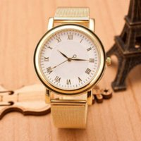 Wholesale Cheap Women Wrist Watches - Factory Price, Lady Women Wristwatches Gold Stainless Steel Round Dial Analog Quartz Wrist Watches Cheap watch tracker