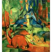 pinturas a óleo animais abstratos venda por atacado-Pinturas a óleo handmade por Franz Marc Deer na floresta animal arte abstrata de alta qualidade decoração da parede