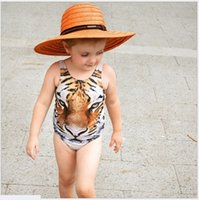 Wholesale Summer Baby Girl Bathing Suits - 2016 New Summer Girls One-Pieces Tiger Printed Swimsuit Kids Swimwear Baby Girl Bathing Suits Children Swim Clothing For 80-110cm Retail