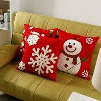 Wholesale Snowflake Cushions - Hot Sale Christmas Festival Cushion Cover Santa Claus Pillow Case Snowflake Pillow Cover Christmas Gift Home Decoration