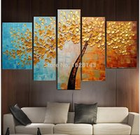 Wholesale Texture Palette Knife Painting - Hand Painted Abstract Golden Tree Oil Painting On Canvas Modern Texture Palette Knife Art 5 Piece Home Decor Wall Pictures Sets
