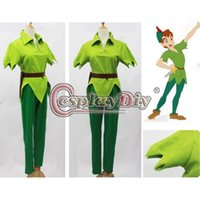 Wholesale Peter Pan Costume Green Fancy Dress Adult Men Halloween Cosplay Costume Custom Made D0528