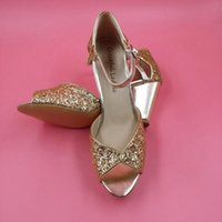Wholesale Custom Sequin Shoes - Gold Sequin Wedding Shoes Peep Toe Ankle Straps Low Chunky Heel Bridal Sandals For Women Plus Size Custom Made Color Block Heel Shoes