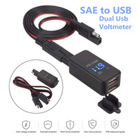 Wholesale Waterproof Motorcycle Voltmeter - 2.1A SAE Dual USB Cable Adapter Waterproof Dual Port Power Socket Smart Phone Tablet GPS Charger with Voltmeter for Motorcycle Car Boat Mari