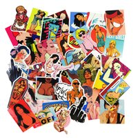 Wholesale Sexy Cartoon Girls - Hot Sale 50 Pcs Sexy Girl Car Stickers for Luggage Laptop Car Waterproof Sticker Handbag Decoration DIY Decals Not Repeat