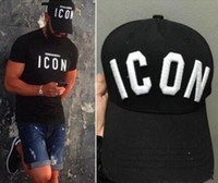 Unisex black style icons - 2016 New Styles Top Ball Cap Baseball Adjustable Sunless Caps Snapback Black Hat Men Women ICON Embroidery Logo Hat