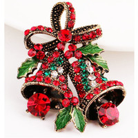 Bell Brooch pin Christmas Gift Antigo Gold-Color com Green Enamel Leaf Red Rhinestone Bowknot Bell Brooch for Women alloy