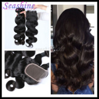 Wholesale Virgin Brazilian Lace Closure 1pcs - Brazilian Virgin Hair Body Wave Hair Bundles With Lace Closure Top Quality Human Hair Weaves 3pcs And 1pcs Closure hair For A Full Head