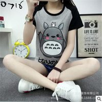 Wholesale Couples Animation - Wholesale-Fashion Animation Totoro T-shirts Women O-neck T Shirts For Women Sport Tee Tops Girl Casual T Shirt Couple Tshirt 2XL