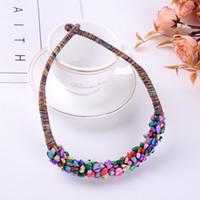 ingrosso collana colorata di stile della boemia-Moda colorato turchese europeo e americano stile etnico Bohemian Stone Necklace Jewelry
