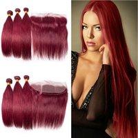 düz kırmızı saç uzantıları toptan satış-Brezilyalı Şarap Kırmızı Ipeksi Düz İnsan Saç 3 Demetleri Ile Frontal 13x4 Bordo 99J Saç Uzantıları Ile Üst Frontal Kapatma 4 adetgrup