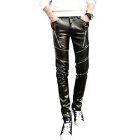 mens deri fermuarlı sıska pantolon toptan satış-Toptan-DJ Swag Skinny Erkek Faux Deri PU Sıkı Siyah Joggers Biker Pantolon Fermuarlar ile Erkekler Boys Için