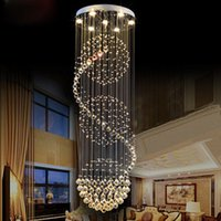 Wholesale Modern Fashion K9 Crystal LED Chandelier Villa Lobby Lounge Dining Room Lamp Double Staircase Long K9 Crystal Chandelier Light