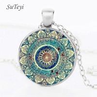 Wholesale Blue Henna - Vintage Mandala Flower Necklace Art Glass Dome Yoga Pendant Necklace Henna Tattoo Blue Mandala Buddhism Necklaces Jewerly