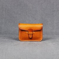 Wholesale Handmade Leather Coin Purse - Wholesale- Vintage Designer Cowhide Mini Wallets 100% Handmade Genuine Leather Small Coin Purse Coin Cases Credit Card Holder Bag