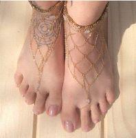Wholesale Jewellery Sandal Free Shipping - 1Pair Fashion Barefoot Sandal Bridal Beach Chain Net Foot Jewelry Anklet Chain DDFJAN2023 Jewellery Free Shipping
