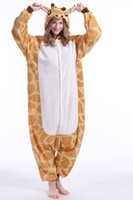 giraffen-pyjamas erwachsene großhandel-Giraffe Lager warme Einhorn Kigurumi Pyjamas Tier Anzüge Cosplay Halloween Kostüm Erwachsene Kleidungsstück Cartoon Jumpsuits Unisex Tier Nachtwäsche