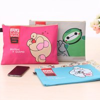 Wholesale Cute A4 Folder - Wholesale-Kawaii Baymax Waterproof file folder Cute Big Hero A4 paper Portable document zipper bag for students Office School Supplies