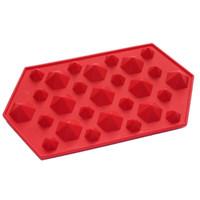 silikon edelstein schimmel großhandel-30 stücke 3D Diamanten Edelstein Kühlen Eiswürfel Schokolade Seifenschale Form Silikon Fodant Formen Zufällige Farben