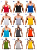 Wholesale green men vest - Factory direct sale ! 12 colors Cotton Stringer Bodybuilding Equipment Fitness Gym Tank Top shirt Solid Singlet Y Back Sport clothes Vest