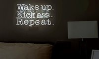 "Wholesale Games Places - Wake Up, Kick ASS Repeat Real Glass Neon Light Sign Home Beer Bar Pub Recreation Room Game Room Windows Garage Wall Sign 12""x20"""