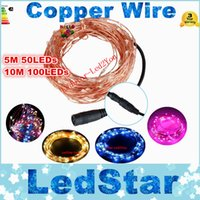 Wholesale Best Halloween Decor - Best Promotion 5M 50LED 10M 100 LED Waterproof IP65 Copper Wire String Fairy Light Christmas Wedding Party Decor DC 12V