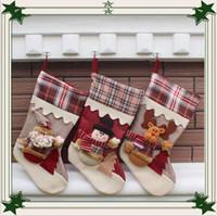Wholesale cartoon trees - 2016 newest Christmas stocking mix burlap cotton Christmas gift bag stocking 3 styles Christmas tree decoration socks