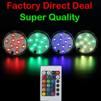 Wholesale Floral Wedding Decorations - 5050 SMD 10 LED Submersible Candle Lamp Remote Control Multicolor Floral Vase Base Waterproof Light Wedding Birthday Party Decoration