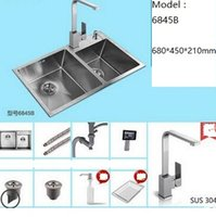 Wholesale Undermount Stainless Kitchen Sinks - 9pcs set Brushed Stainless Steel Double Bowl Undermount Sink with Faucet kitchen Sink Free Shipping