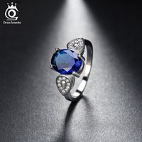 Wholesale Jewels Accessories - ORSA JEWELS Luxury Women Rings With 2.5ct Dark Blue Cubic Zircon For Female Fashion Finger Jewelry Accessories OR133
