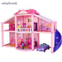 Wholesale Mini Dolls For Dollhouse - Wholesale- Abbyfrank Plastic Dolls House 3D DIY Educational Toys For Children Christmas Gift For Girl Mini Dollhouse Casa De Boneca