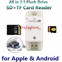 Wholesale Universal Usb Drive - 3 in 1 iFlash Drive HD USB 3.0 Micro SD SDHC TF OTG Card Reader for iPhone 5s 6 6s plus ipad ios Device for All Android Cellphone