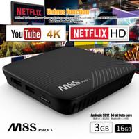 Wholesale Xiaomi Box - 3G 16G Android TV Box MECOOL M8S PRO Octa Core S912 Intelligent TV BOX WIFI 4K Movies Smart TV Box Android Media Player PK Xiaomi S10
