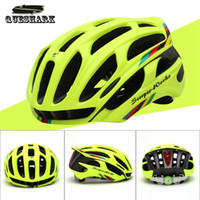 Wholesale Helmet Cycling Green - Wholesale-Queshark Cycling Helmet Road Mountain In-mold Bicycle Helmet Ultralight Bike Helmet With LED Warning Lights