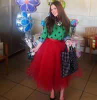 tutu faldas hasta los tobillos al por mayor-Faldas Puffy rojas de tul Vestidos de bola Longitud del tobillo Puffy Tutu Faldas para las mujeres a la fiesta de cumpleaños Lolita Falda por encargo