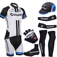 Wholesale Giant Glove Half Finger - Free Shipping New White giant cycling jersey gel Bike shorts suit with cycling warmers leg warmers and half finger bike gloves
