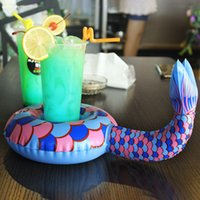 Wholesale Kids Beach Party Decorations - 2017 Mini Mermaid Dolphin Fish Inflatable Cup Floating Drink Cup Holder Beverage Boats Swimming Pool Party Play Decorations Beach Kids Toy