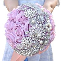 Wholesale Cheap Silk Purple Bridesmaids Bouquets - Ivory Purple Handmade Flowers Rose Bridal Bouquets Crystal Brooch Pearls Beaded Adorned Bridesmaids Bouquet Cheap Sale New Wedding Supplier